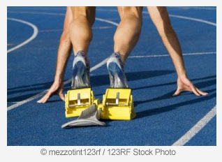 Sprinter in Starting Blocks